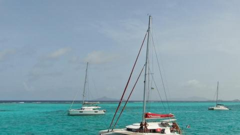 NEEL-TRIMARANS NEEL 45 : At anchor in Grenadines