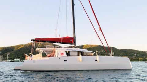 NEEL-TRIMARANS NEEL 45:  at anchor