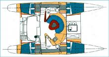 Boat layout - Fountaine Pajot Athena 38, Used (2002) - Guadeloupe (Ref 207)