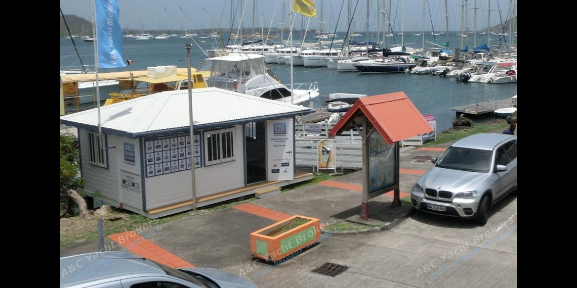 Our new sales office at the port in Le Marin