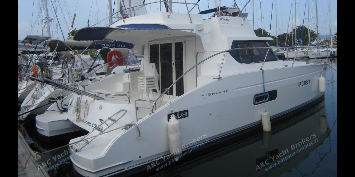 Highland 35 in the marina - Trawler Catamarans Highland 35, Used (2006) - Guadeloupe (Ref 338)
